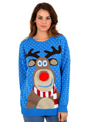 "Womens Blue ""3D Rudolph Red Nose"" Reindeer Christmas Jumper"