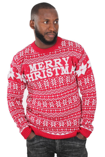 Mens Red Fairisle Boucle Merry Christmas Knitted Sweater Jumper -S