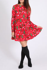 Ladies Red Christmas Tree Printed Swing Dress-S/M