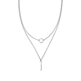 Modern Circle and Bar Layered Necklace