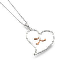 Rose gold flower heart pendant
