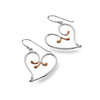 Rose gold flower heart earrings