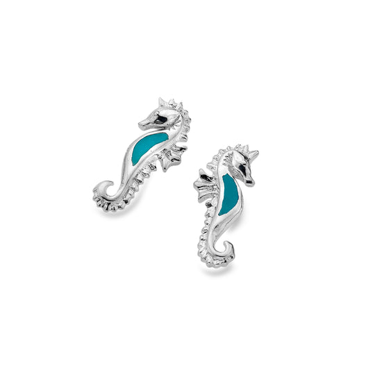 Turquoise seahorse studs