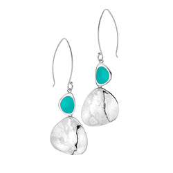 Large turquoise rockpool earrings