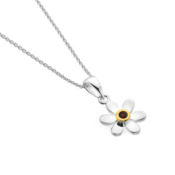 January birthstone daisy pendant