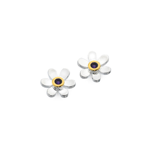 February birthstone daisy studs