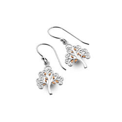 Golden leaf tree of life earrings