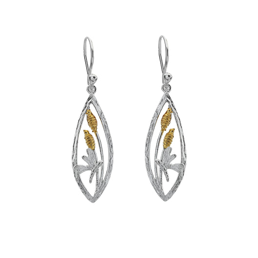 Dragonfly and gold plated bulrushes earrings