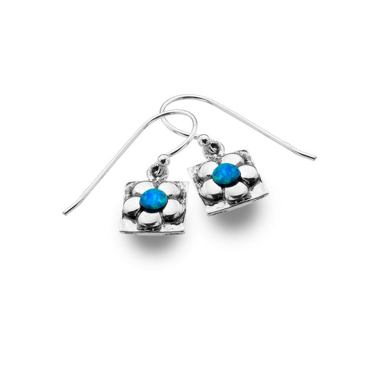 Photo of Arty blue flower earrings