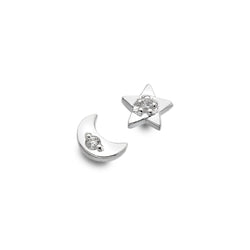 Sparkling Moon & Star Studs