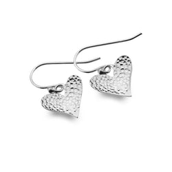 Hammered Love Heart Earrings