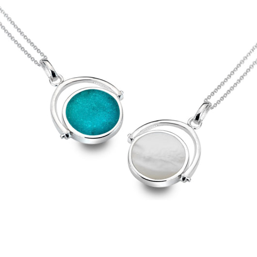Turquoise & Mother of Pearl Spinning Pendant