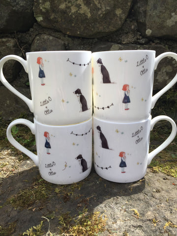 Little O & Ollie Bone China Butterfly & Bunting Mugs Set of 4