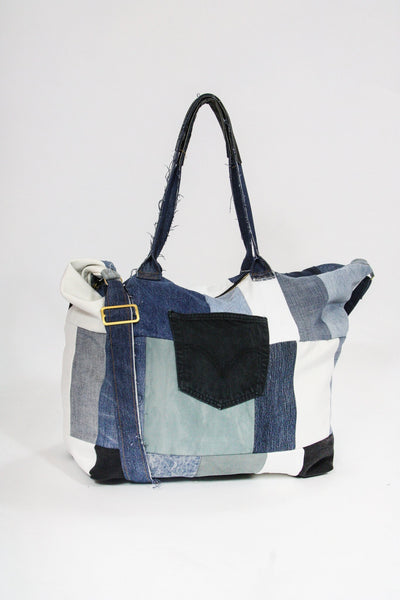 Custom Vintage Frayed Denim Tote Bag - Blue ONE SIZE