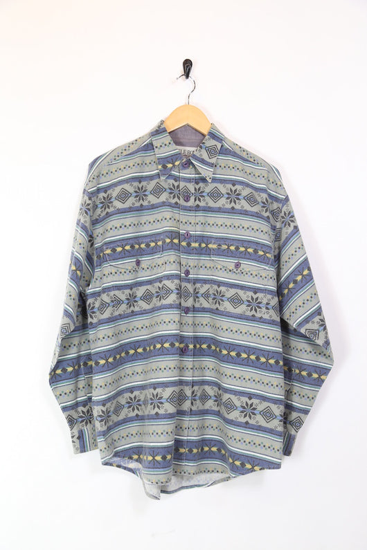 Men's Aztec Patterned Long Sleeve Shirt - Grey XL