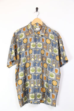 Men's Cocktail Print Short Sleeve Shirt - Multi L