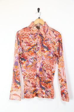 Men's 70's Japanese Birds Print Shirt - Red S