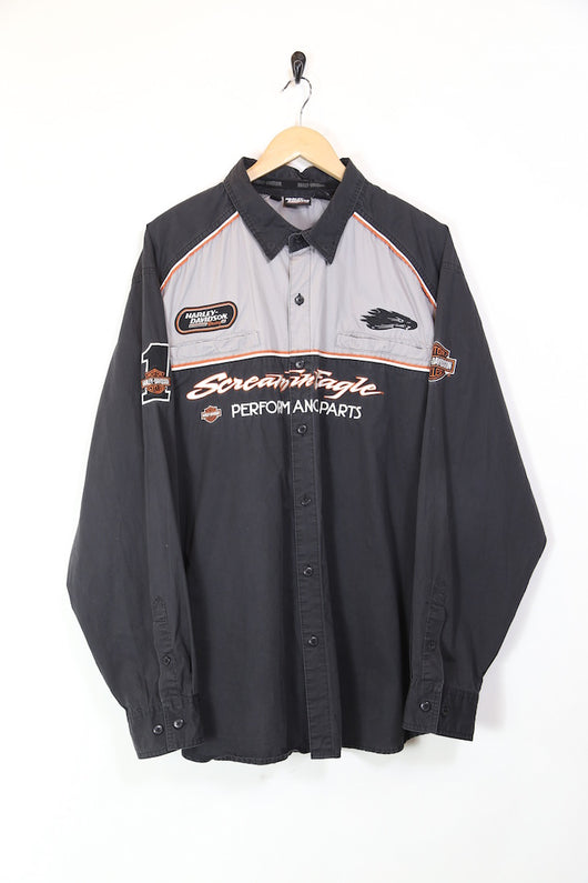 Mens Harley Davidson Long Sleeve Shirt - Black XXL