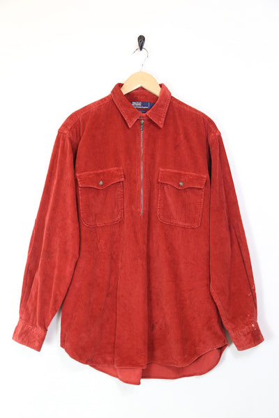 Men's 1/4 zip Corduroy Long Sleeve Shirt - Red XXXL