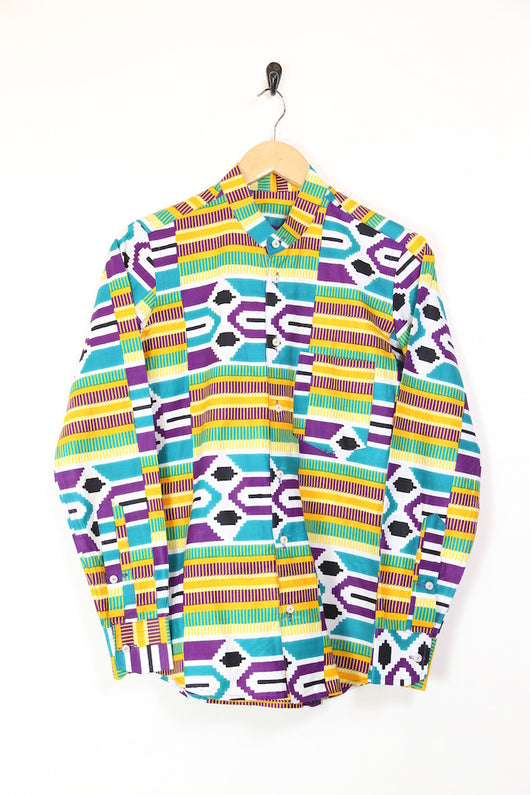 Men's African Patterned Collarless Shirt - Multi S