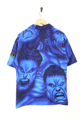Men's Hulk print Short Sleeve Shirt - Blue XL