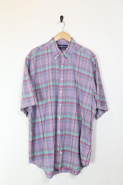 Men's Ralph Lauren Checkered Short Sleeve Shirt - Purple XXXL