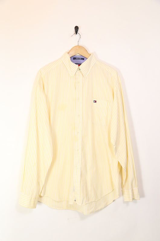 Men's Striped Tommy Hilfiger Long Sleeve Shirt - Yellow XXXL