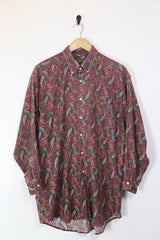 Men's Paisley Patterned Long Sleeve Shirt - Red XXL