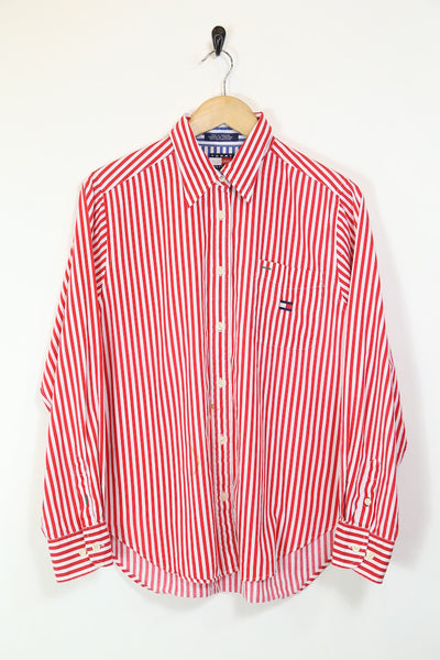 Women's Striped Tommy Hilfiger Long Sleeve Shirt - Red/White L