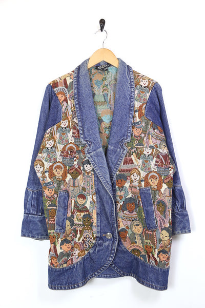 Women's Longline Tapestry denim Jacket - Blue L