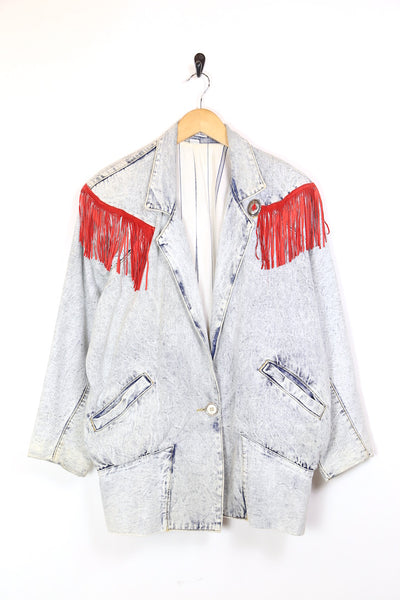 Women's Acid Wash Tasseled Denim Jacket - Blue M