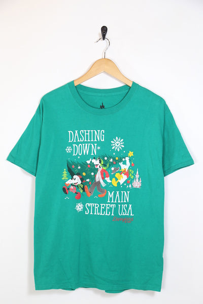2000's XMAS Women's Disney T-Shirt - Green L