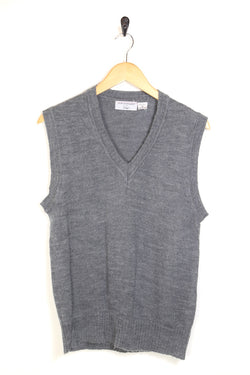 1990s Men's Knitted Jumper Vest - Grey M