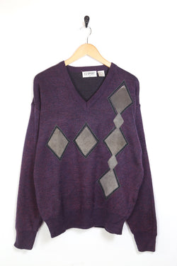 1990s Men's Patterned Knitted Jumper - Purple M