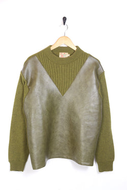 1990s Men's Panelled Knitted Jumper Vest - Green L