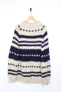 1990s Men's Icelandic Knitted Jumper - Cream XL