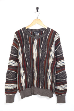 1990s Men's Patterned Knitted Jumper - Multi L