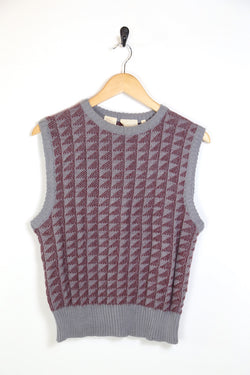 1990s Men's Patterned Knitted Jumper Vest - Multi M