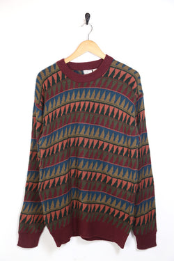 1990s Men's Patterned Knitted Jumper - Multi M