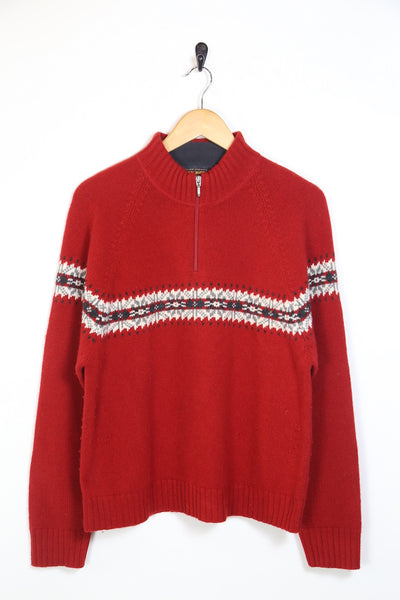 1990s Men's Woolrich 1/4 Zip Knitted Jumper - Red M