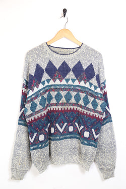 1990s Men's Patterned Knitted Jumper -Multi L