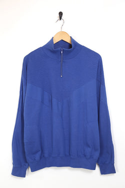 1990s Men's Blue 1/4 Zip Sweatshirt - Blue L