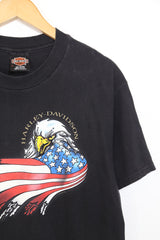 1990s Men's Harley Davidson Printed T-Shirt - Black L