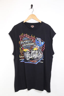 1990s Men's Harley Davidson Printed Sleeveless T-Shirt - Black XL