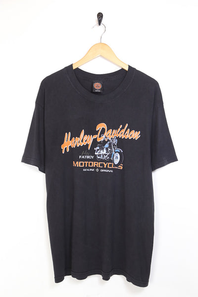 2000s Men's Harley Davidson Printed Sleeveless T-Shirt - Black L