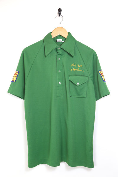 1960s Men's Bowling Shirt - Green L