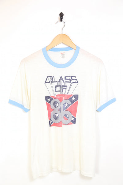 1980s Men's Paper Thin Class Of Print T-Shirt - White L