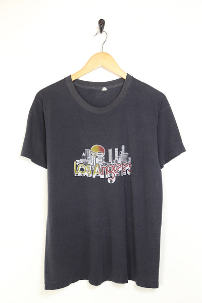 1990s Men's Printed Los Angeles T-Shirt - Black M