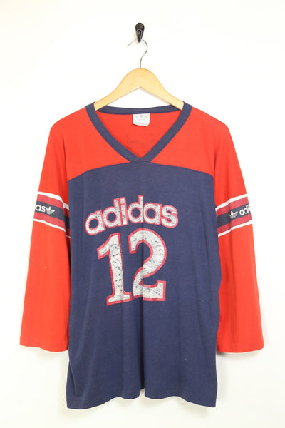 1990s Men's Adidas Long Sleeved T-Shirt - Multi XL