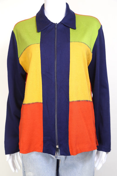 1990s Women's Zipped Panelled Sweatshirt - Multi M